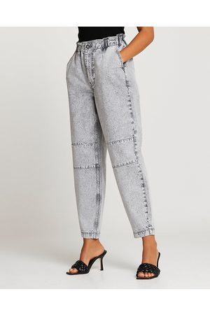 Women High Waisted - River Island Womens Grey high waisted tapered jeans