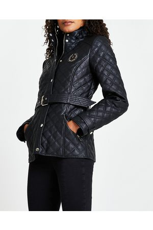 Women Leather Jackets - River Island Womens faux leather quilted padded jacket