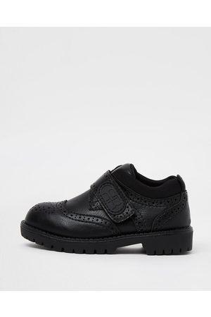 Boys Brogues - River Island Mini boys RI velcro brogue shoes