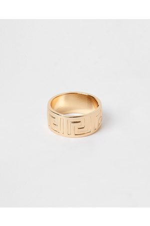 Men Rings - River Island Mens Gold colour engraved band ring