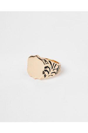 Men Rings - River Island Mens Gold colour western signet ring