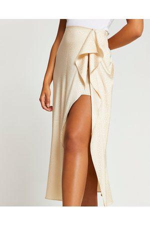 River Island Womens Stone animal print front slip skirt