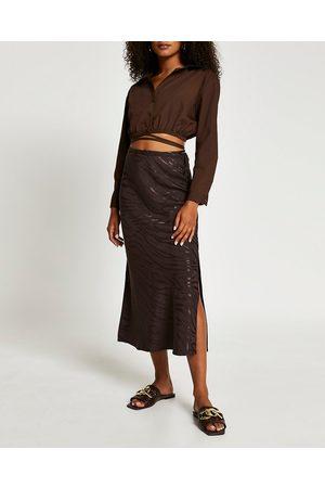 River Island Womens animal print side split maxi skirt