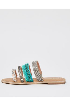 Girls Mules - River Island Girls embellished strap mule sandal
