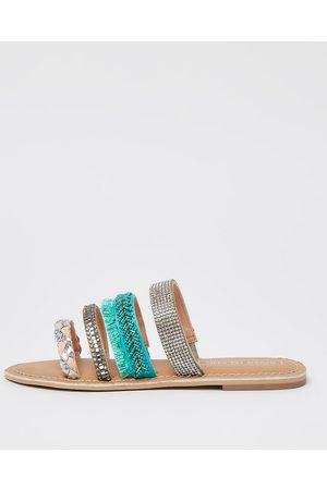River Island Girls embellished strap mule sandal