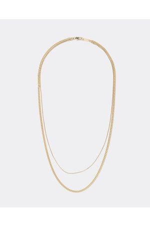 River Island Mens Gold colour layered fine chain necklace