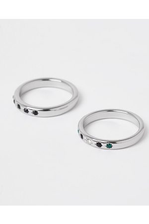 River Island Mens stone rings 2 pack