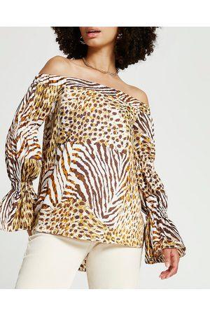 River Island Womens long sleeve tiered sleeve bardot top