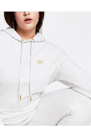 Women Long sleeves - River Island Womens Plus grey long sleeve RI branded hoodie