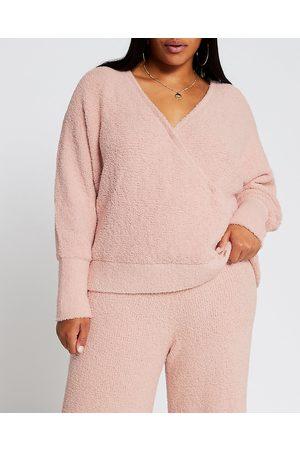 River Island Womens Plus fluffy knit wrap long sleeve top