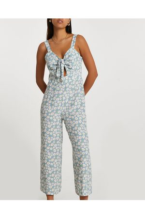 River Island Womens sleeveless floral front tie jumpsuit