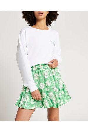 Women Printed Skirts - River Island Womens floral print mini skirt