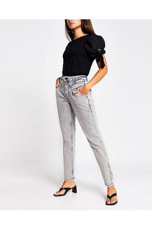River Island Womens Grey tapered split hem jean