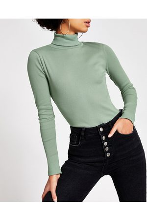 Women Long sleeves - River Island Womens Light long sleeve roll neck ribbed top