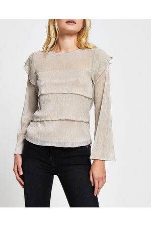 River Island Womens long sleeve plisse layered top
