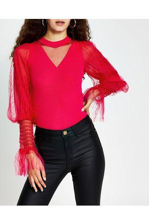 River Island Womens metallic long sleeve ruffle top