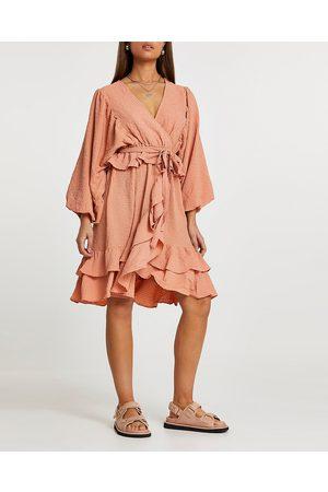 River Island Womens long sleeve frill wrap dress