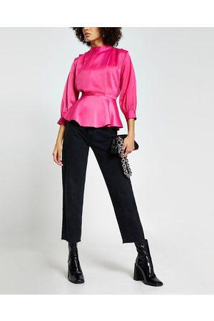 Women Long sleeves - River Island Womens peplum pleated shoulder long sleeve top