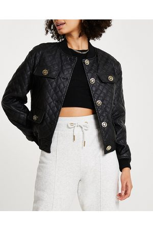 River Island Womens faux leather quilted bomber jacket