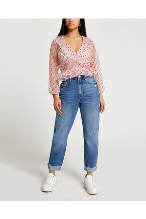 River Island Womens Petite wrap peplum blouse top