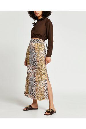 River Island Womens animal print maxi pleat skirt