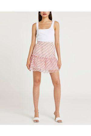 Women Printed Skirts - River Island Womens spot print frill organza mini skirt
