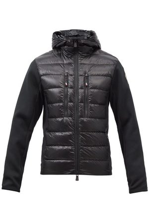 Moncler Men Sports Hoodies - Hooded Down-padded Jersey Track Top - Mens - Black