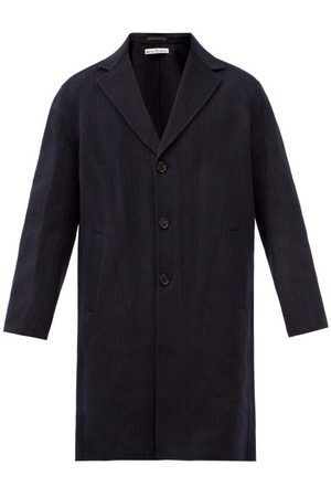 Acne Studios Dali Single-breasted Pinstriped-wool Overcoat - Mens - Navy