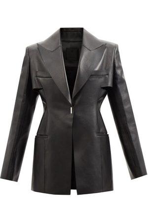 Givenchy Single-breasted Peak-lapel Leather Jacket - Womens