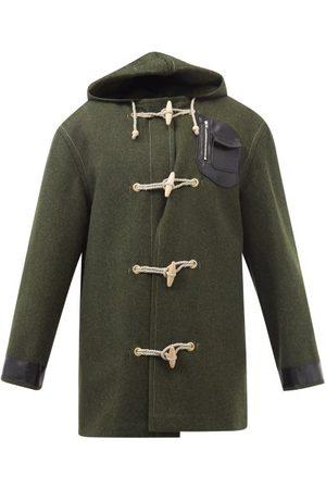 Maison Margiela Leather-trim Wool Duffle Coat - Mens