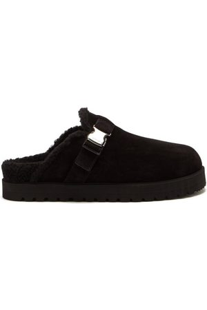 Moncler Mon Mule Buckled Shearling Backless Loafers - Mens