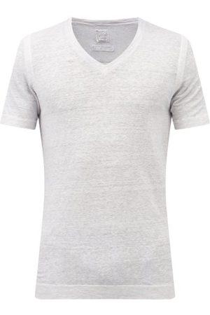 120% Lino Men T-shirts - V-neck Linen-jersey T-shirt - Mens