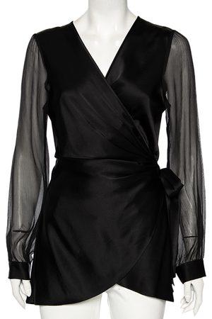 Diane von Furstenberg Satin Klee Sheer Sleeve Wrap Blouse M