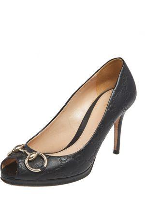 Gucci Ssima Leather New Hollywood Horsebit Peep Toe Pumps Size 37.5
