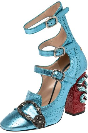 Gucci Women Brogues - Metallic Blue Brogue Leather Queercore Pumps Size 38.5