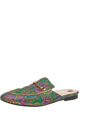 Gucci Brocade Fabric Princetown Mule Sandals Size 40