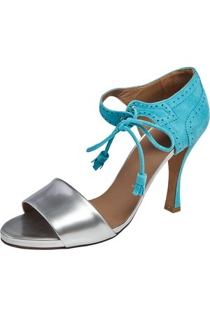 Hermès Turquoise/ Brogue Suede and Patent Leather Ankle Wrap Sandals Size 38