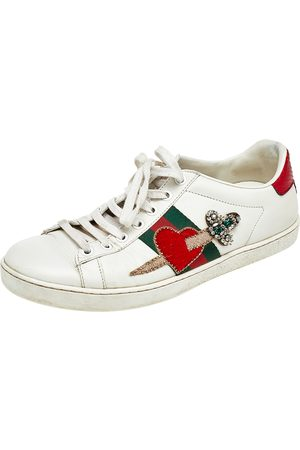Gucci Leather Ace Appliqué Embellished Low Top Sneakers Size 38