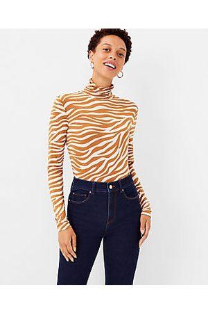 ANN TAYLOR Women High Necks - Petite Zebra Print Turtleneck Top