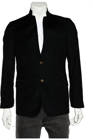 Gucci Midnight Corduroy Bee Embroidered Lapel Tailored Blazer S