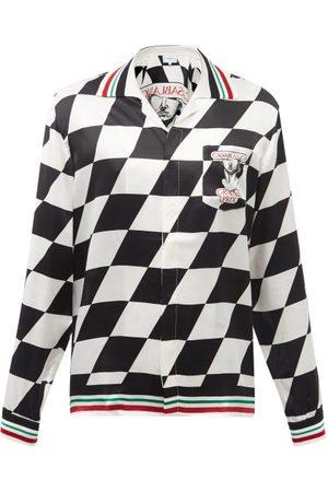 Casablanca Men Shirts - Grand Prix-print Silk-twill Shirt - Mens