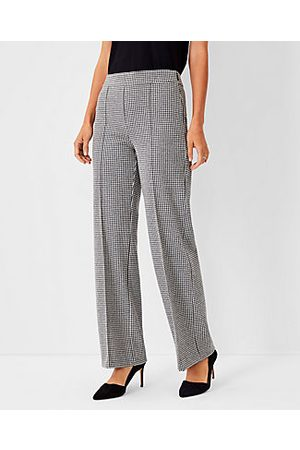 ANN TAYLOR Women Straight Leg Pants - The Houndstooth Side Zip Straight Pant