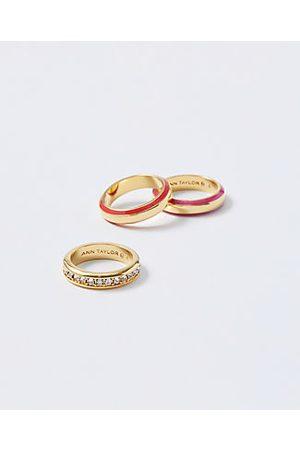 ANN TAYLOR Enamel Pave Ring Set