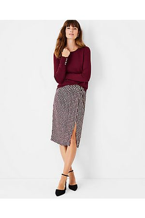ANN TAYLOR Women Pencil Skirts - Petite Houndstooth Knotted Pencil Skirt