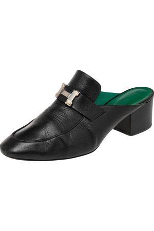 Hermès Leather Tuileries Block Heel Mules Size 38.5