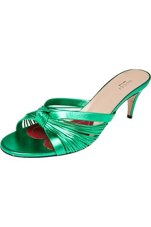 Gucci Metallic Green Leather Knotted Slide Sandals Size 41.5
