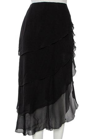 CHANEL Silk Asymmetrical Tiered Midi Skirt XL