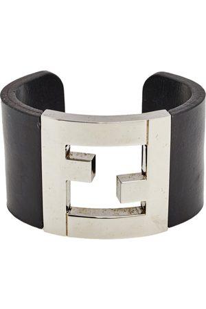 Fendi Leather Silver Tone Wide Cuff Bracelet