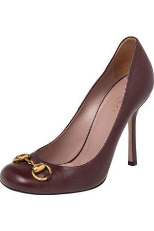 Gucci Burgundy Leather Jolene Horsebit Pumps Size 36