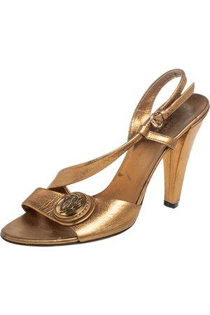 Gucci Metallic Bronze Leather Hysteria Slingback Sandals Size 35.5